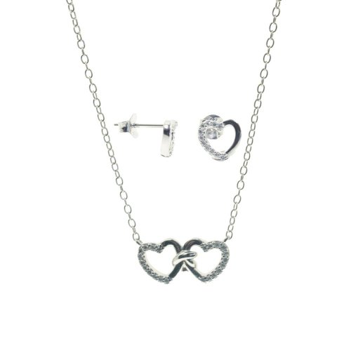 Sterling Silver CZ Heart Pendant Set (PS-1052)