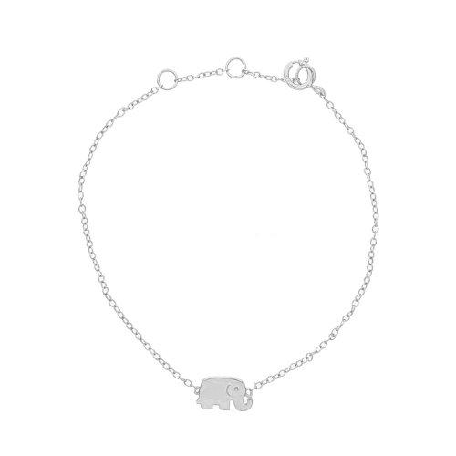 Sterling Silver Plain Elephant Bracelet (BR-1222)