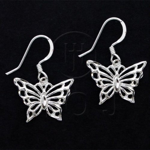 Silver Plain Dangle Earrings Butterfly (ED4557)