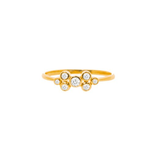 Five CZ Halo Ring (R-1421-G)
