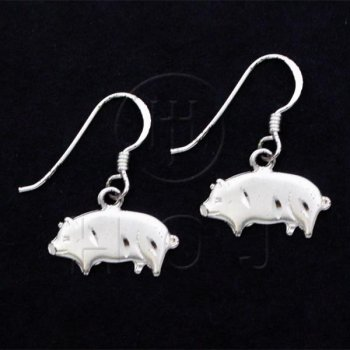 Silver Plain Dangle Earrings Pig (ED4358)