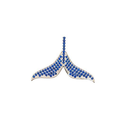 Blue CZ Whale Tail (P-1401-B)