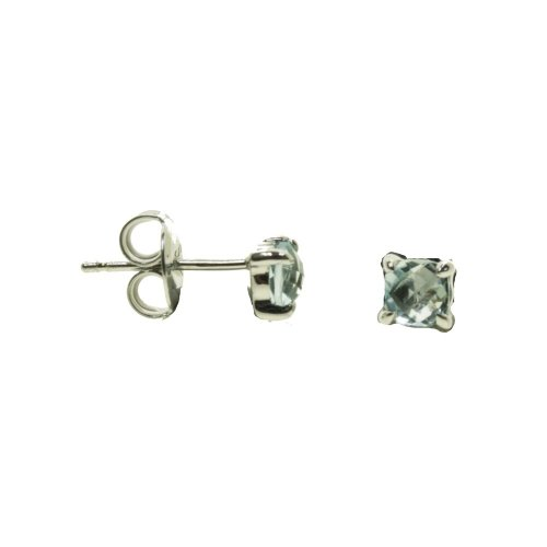 Rhodium Plated Blue Topaz Cushion Cut Studs (ST-1314-BT)