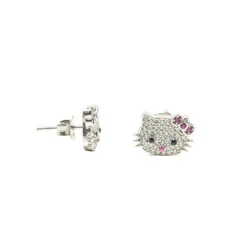 CZ Hello Kitty Studs with Red Bow