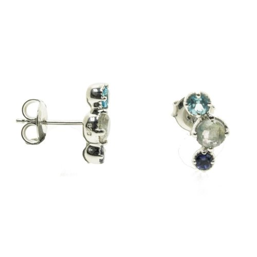 Rhodium Plated Blue Topaz Earrings (ST-1315-MS)