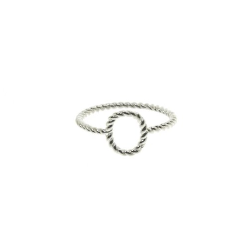 Silver Rose Plated Plain Rope Ring (R-1149-R)