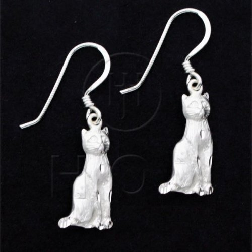Silver Plain Dangle Earrings Cat (ANE130)