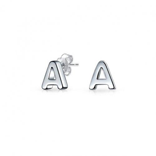 Plain Sterling Silver Alphabet Studs