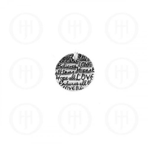 """Sterling Silver Tiffany Inspired Inspirational Engraved """"Love, Believes, Hopes"""" Pendant (P-1042)"""
