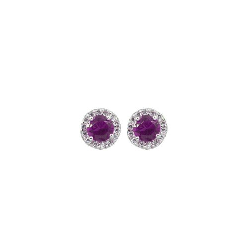 Rose Amethyst Round CZ Halo Stud Earrings
