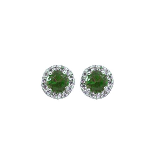 Gold Emerald Round CZ Halo Stud Earrings (ST-1058-E)