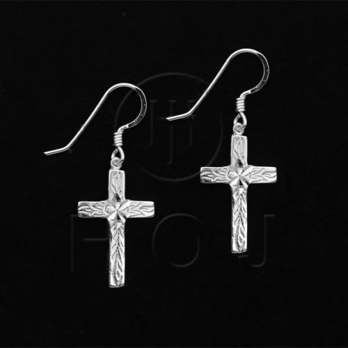 Silver Plain Dangle Earrings Cross (ED3043)