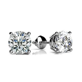"Sterling Silver Round ""Triple AAA"" CZ Screwback Studs Rhodium Plated (ST-1334)"