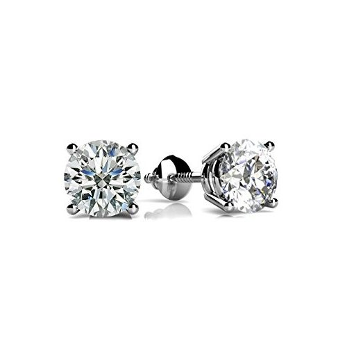 Sterling Silver Round CZ Screwback Studs (ST-1334)