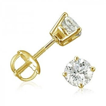 "Sterling Silver Round ""Triple AAA"" CZ Screwback Studs Gold Filled (ST-1334-G)"