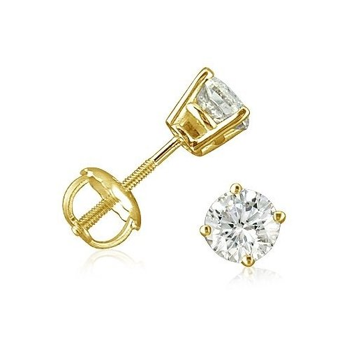 Sterling Silver Gold Plated Round CZ Screwback Studs (ST-1334-G)