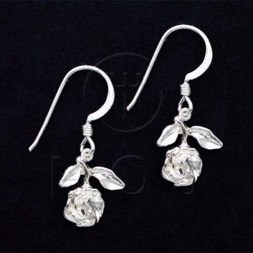 Silver Plain Dangle Earrings Rose (ED3053)