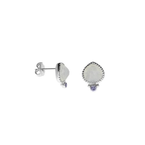 Sterling Silver Blue Chalcedony and Iolite Stud Earrings (ST-1192)