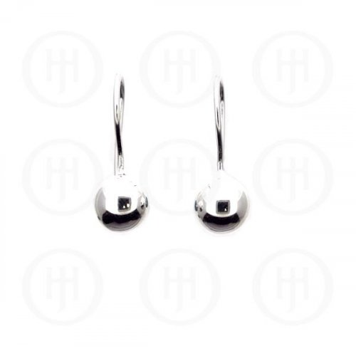Silver French Wire Ball Earrings '8mm(ER-1021-8)