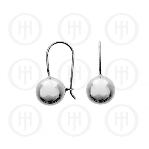 Silver French Wire Ball Earrings 10mm (ER-1021-10)
