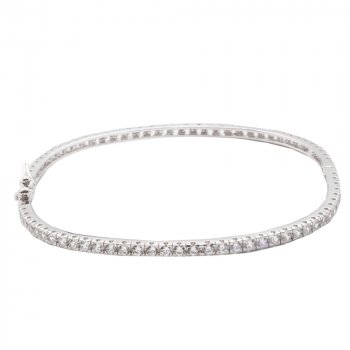 Sterling Silver Bangle with Full CZ (IB-1071)
