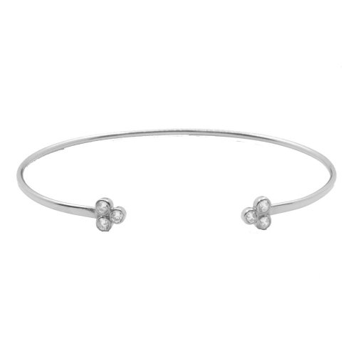 Sterling Silver Thin Cuff Bangle with Triangle CZ Bezel (IB-1058)