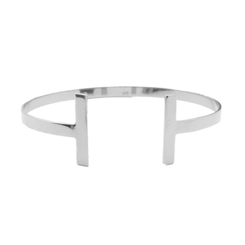 Sterling Silver Plain Tiffany Inspired T Cuff Bangle (IB-1045)
