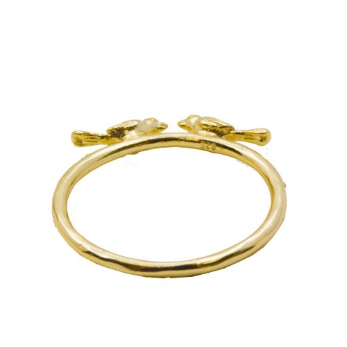 Silver Gold Plated Assorted Plain Bird Ring (R-1330-G)