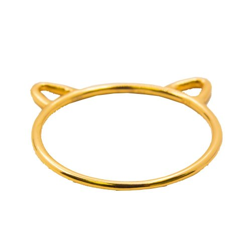 Sterling Silver Cat Ring Gold Plated (R-1254-G)