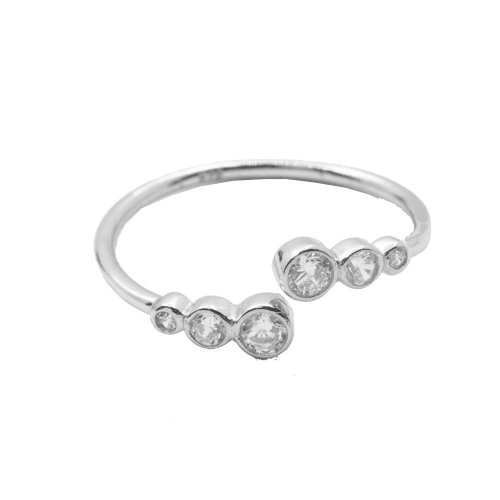 Silver Ring with Triple Mini CZ on Each Side (R-1328)