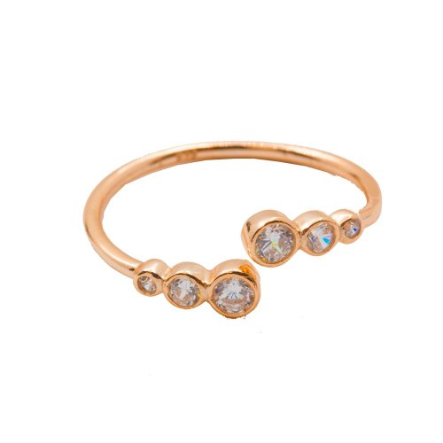Silver Ring with Triple Mini CZ on Each Side Rose Gold Silver (R-1328-R)