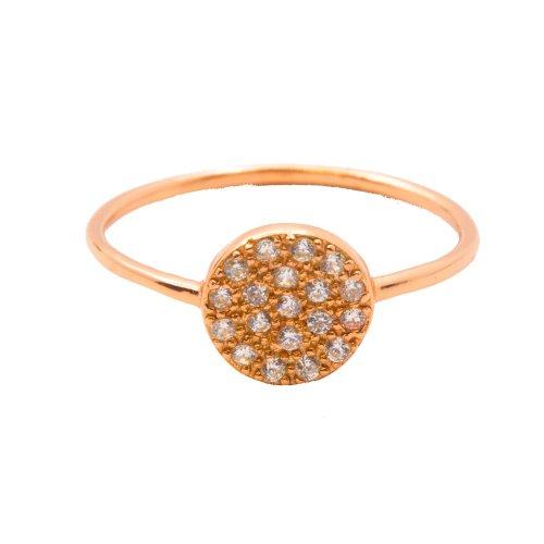 Silver Assorted CZ Round Disc Ring Rose Plated (R-1329-R)
