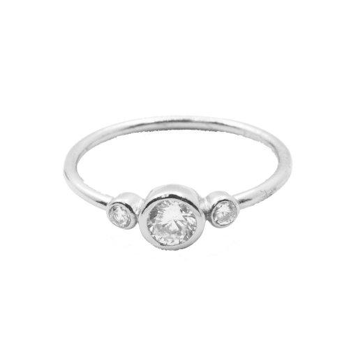 Silver Three Bezel CZ Ring (R-1333)