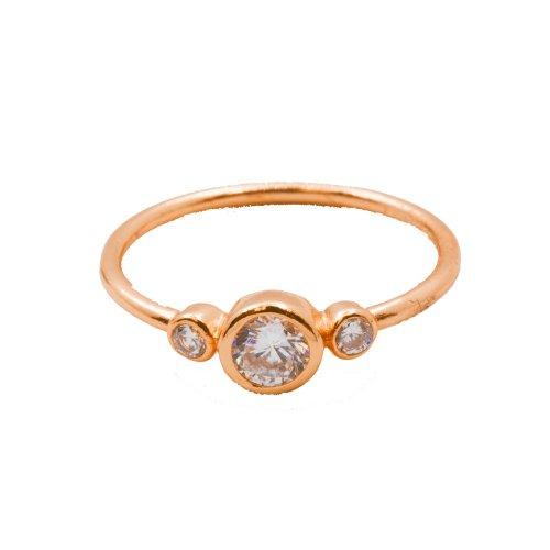 Silver Rose Gold PlatedThree Bezel CZ Ring (R-1333-R)