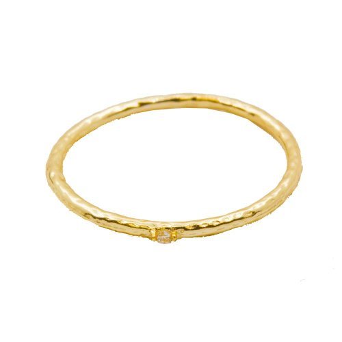 Sterling Silver Hammered Gold CZ Ring (R-1363-G)