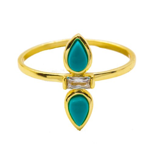 Double Tear Drop Turquoise Ring (R-1419-T)