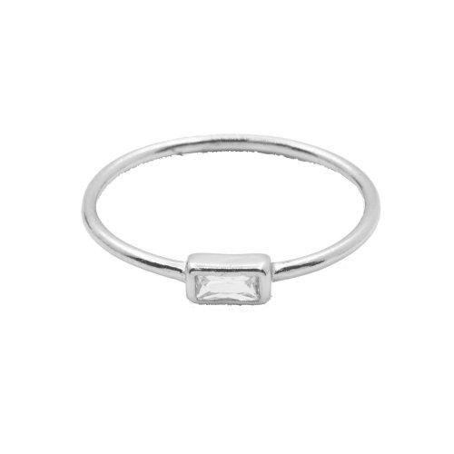 Rectange CZ Halo Ring (R-1425)