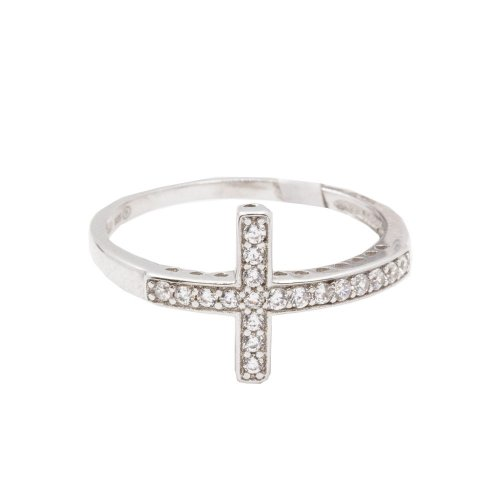 Sterling Silver Cross Ring Rhodium Plated (R-1178)