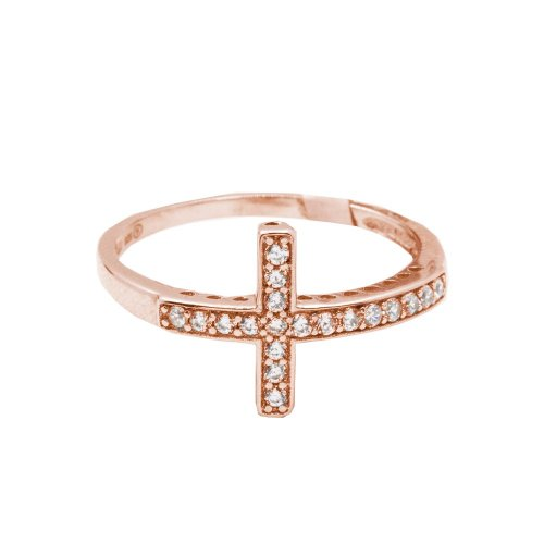 Sterling Silver Cross Ring Rose Gold Plated (R-1178-R)