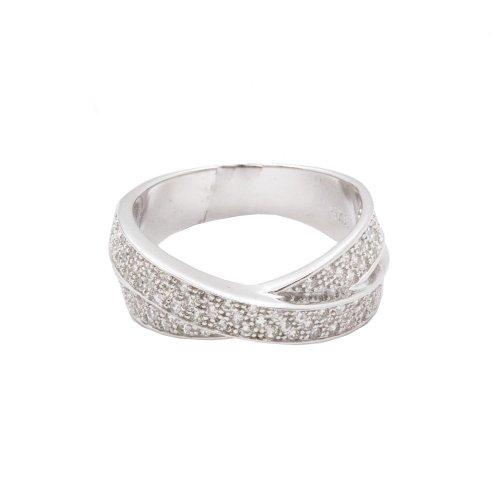 Silver Triple CZ Interlocked Ring (R-1314)