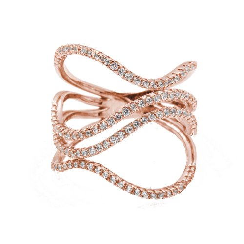 Abstract Rosegold Plated Wavy CZ Ring (R-1396-R)