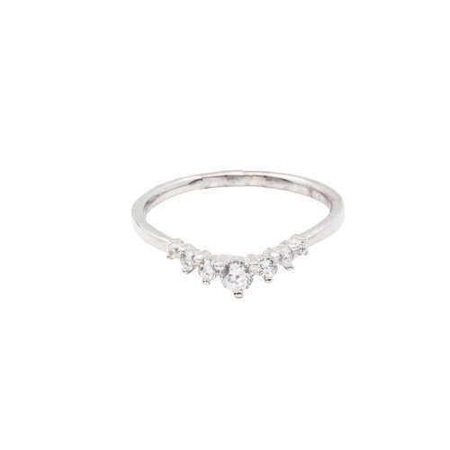 Sterling Silver Seven CZ ring (R-1513)