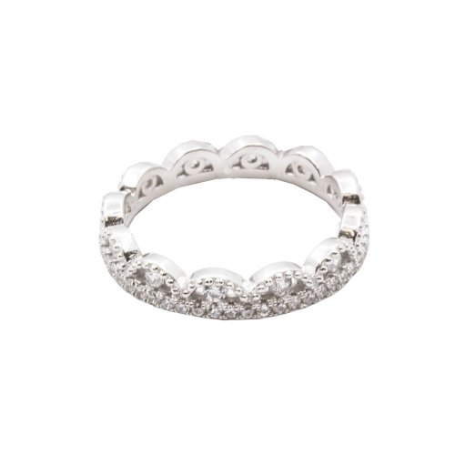 Sterling Silver CZ crown ring (R-1518)