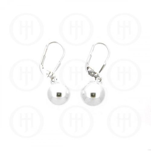 Silver Leverback Hook Ball Earrings 10mm(LB-1003-10)