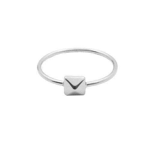 Silver Plain Pyramid Ring (R-1208)