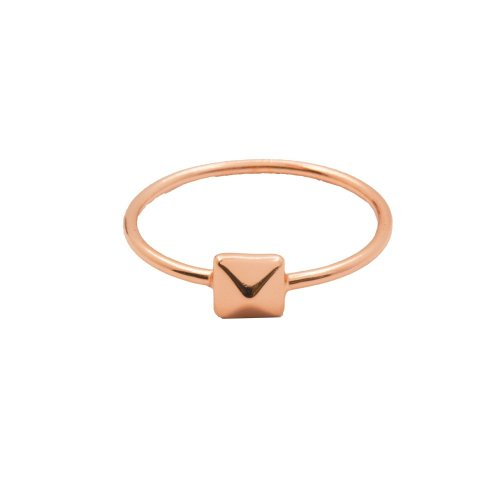 Silver Plain Rose Gold Plated Pyramid Ring (R-1208-R)