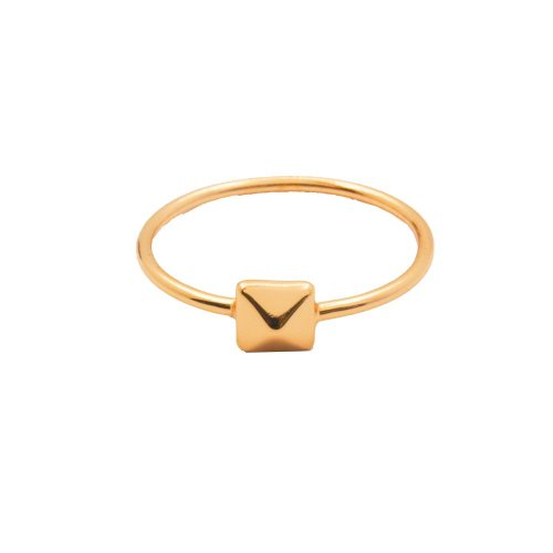 Silver Plain Gold Plated Pyramid Ring (R-1208-G)