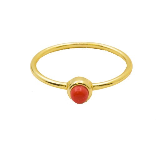 Silver Stone Plain Coral Ring (R-1347-G)