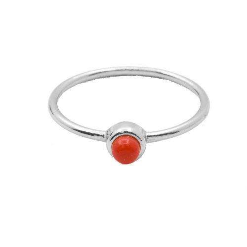Silver Stone Plain Coral Ring (R-1347)