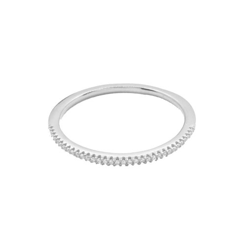 Silver Assorted Tiffany Inspired Rhodium Plated Stackable CZ Ring (R-1078-S)
